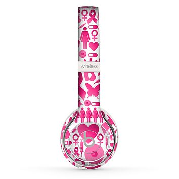 The Pink Collage Breast Cancer Awareness Skin Set for the Beats by Dre Solo 2 Wireless Headphones