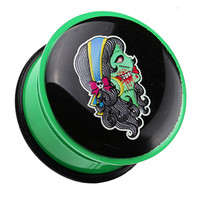 Day of the Dead Zombie Girl Single Flared Ear Gauge Plug