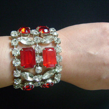 The Ultimate Hollywood Glam Red Ruby Faux Rubies Oval Emerald Round Marquise / Navette Cut Glass Rhinestones Fancy Cocktail Vintage Bracelet
