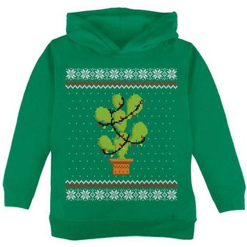 PEAPGQ9 Cactus Prickly Pear Tree Ugly Christmas Sweater Toddler Hoodie