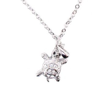 Small Turtle Shaped Charm Necklace in Silver with Rhinestones