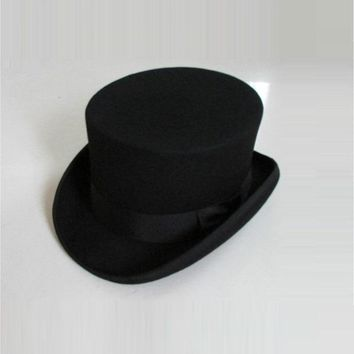 British Style Men Women Wool Fedora Steampunk Top Hat Cylinder Magician Magic Cap Good Package Wool Fedoras Cap 12cm High B-8114