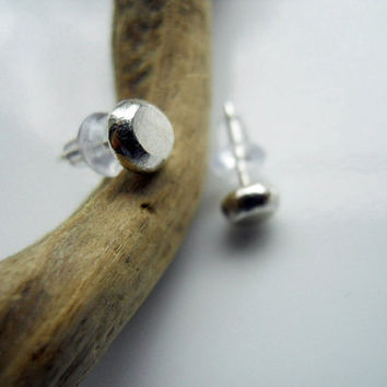 Petite Sterling Silver Plump Pebble Post Earrings by patinaware