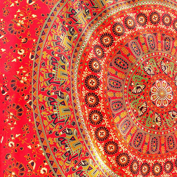 SMALL Hippie Mandala Tapestry Boho Bohemian wall hanging twin mandala bedding throw indian bedspread ethnic home decor