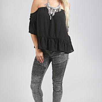 perfectly peasant off shoulder top - black