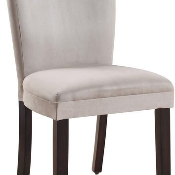 """104167 19"""" Parson Side Chair with Soft Microfiber Fabric Upholstery, High Solid Back, Wood Tapered Legs and Padded Seat in Grey"""
