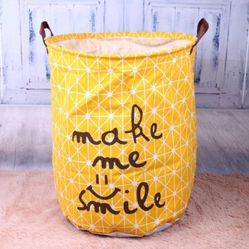 Smile Letter/Stripe Cotton Laundry Basket Cloth Dirty Clothes Organizer Barrel Home Storage Basket for Toys Underwear Sundries