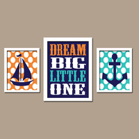 NAUTICAL Boat Anchor Dream Big Little One Polka Dots Ocean Sea Navy Blue Set of 3 Trio Prints Decor WALL ART Boy Girl Baby Bathroom Bedroom