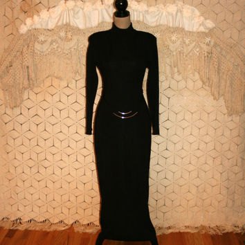 Vintage Long Sleeve Black Maxi Sweater Dress Gothic Goth Minimalist Edgy Hourglass Wiggle Dress Size 6 Size 8 Small Medium Womens Clothing