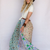 Trendy Bohemian Gypsy Patchwork Maxi Dress