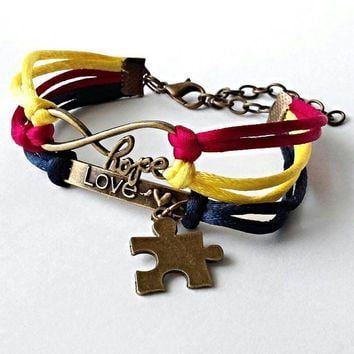 Autism bracelet, autism awareness jewelry, puzzle piece bracelet, hope love, multi colored bracelet, autism gifts, autism mom,  made in U.S.