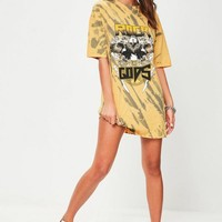 Missguided - Orange Bleached Rock T-shirt Dress