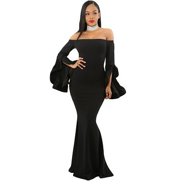 Black Off Shoulder Pleated Bell Sleeves Party Evening Maxi Dress