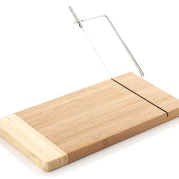 Bamboo Cheese Board w/ Wire Cutter, Cheese Boards & Cheese Board Sets