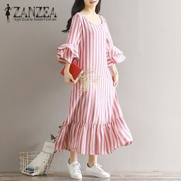 2018 ZANZEA Women Vintage Stripe O Neck 3/4 Sleeve Autumn Loose Long Shirt Dress Casual Party Linen Ruffle Hem Vestido Plus Size