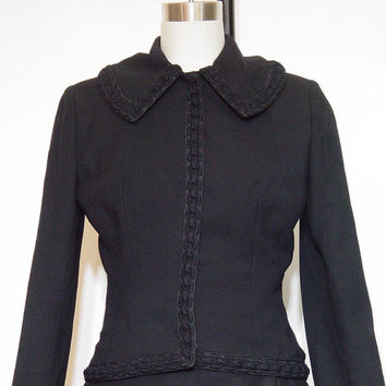 Vintage 60s Jacket Black Lilli Ann Wool Crepe 1960s Designer Blazer Suit Dress Coat XS S