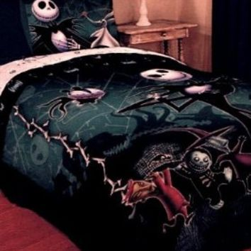 The Nightmare Before Christmas Full / Queen Comforter & 2 Pillowcases with Jack Skellington Zero Lock Shock and Barrel