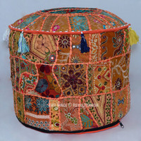 Orange Vintage Handmade Patchwork Round Ottoman Footstool Pouffe on RoyalFurnish.com