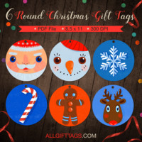 Round Christmas Gift Tags