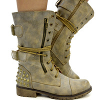 Harley Studded Tan Combat Military Boots-OUT OF BOX