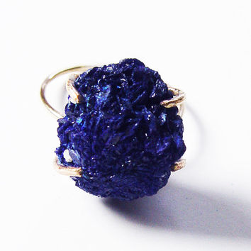 Azurite Cluster Gold  Ring