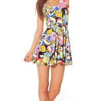 Adventure Time Cast Print Sleeveless Pleated Mini Dress