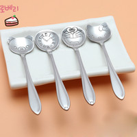 4kinds Tableware Cartoon Hellokitty Stainless Steel Silver Tea Coffee Spoon Teaspoons Ice Cream Flatware Kitchen Tool Best Price