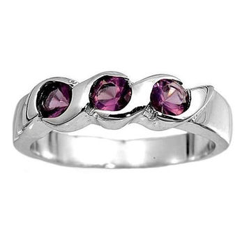 Sterling Silver Purple Amethyst CZ Three Stone Ring Size 1-2