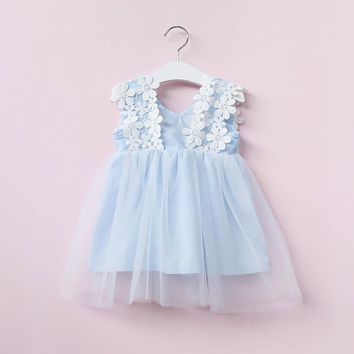 Big Cow Girls Dress 2017 New Summer Children Costume Princess Flowers Wedding Party Dresses Lace   Dresses Kids Clothes