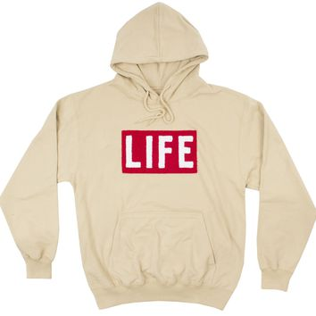 LIFE Chenille Logo patch on mens tan Hoodie by Altru Apparel