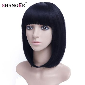 SHANGKE 14''  Bob Wig Short Synthetic Wigs For  Women Heat Resistant Straight Hair For  Women Hairpieces