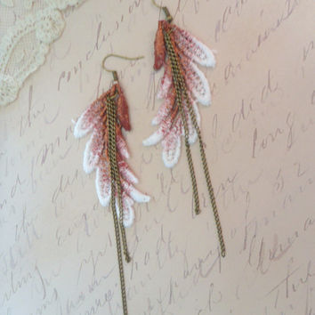 Long Lace Earrings, Burgundy Duster Earrings, Super Long Bridal Earrings, Anthropologie Inspired Leaf Earring