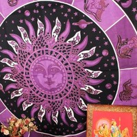 Multimate Collection Indian Astrology Tapestry Purple Black Celestial Tapestries Zodiac Wall Hanging Indian Hippie Blanket and Throws Sun Moon Tapestries