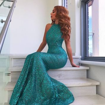 Melinda Turquoise Sequinned Maxi Dress