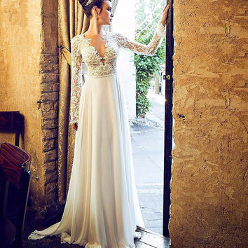 elegant beach wedding dresses 2017 long sleeve low v neck appliques lace boho bridal gown marry party gown vestido novia
