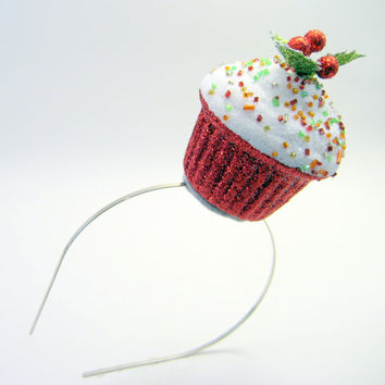 Holly & Ivy Christmas Cupcake Fascinator - Whimsical Holiday Photo Prop - Holiday Party - funny hat