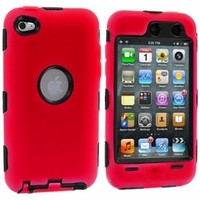 Red Deluxe Hybrid Premium Rugged Hard Soft Case Skin Cover for iPod Touch 4th Generation 4G 4:Amazon:Cell Phones & Accessories