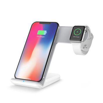 Wireless Charge Dock 2 in 1 Portable Charger for iPhone X/8/8 Plus/iWatch 1/2/3