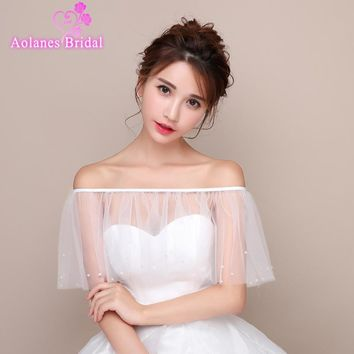 High Quality Off White Ivory 2017 Tulle with Appliques Off Shoulder Bridal Wedding Bolero Jacket Wedding Shrug Cape Shawl