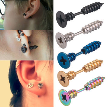 1PC New Stylish Men Women Unisex Stainless Steel Whole Screw Stud Earring Punk Ear Stud 5 Colors