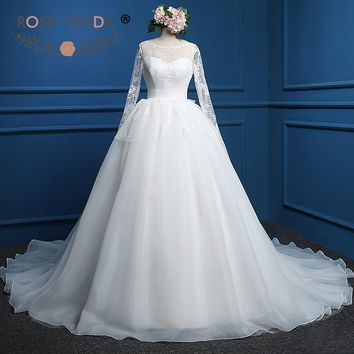 Rose Moda Long Sleeves Wedding Dress Vintage Lace Ball Gown Low V Back Muslim Wedding Dresses Plus Size Real Photos