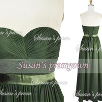 2014 Prom Draped Olive Green Chiffon Dresses, Prom Dress,Evening Dress,Wedding Dresses,Formal Dress,Party Dress