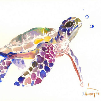 Sea Turtle painting, 12 X 9 in, sea animal art, animal lover wall art