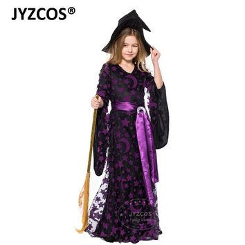 JYZCOS Kids Witch Costume Baby Girls Halloween Party Costumes Purple Witch Fancy Dress Carnival Cosplay Costume