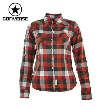 DCCKHD9 Original Converse Women's Long sleeve Shirts Sportswear plaid - Red or Purple
