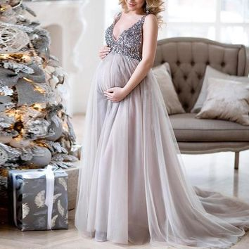 Autumn and winter new solid color sequins sexy strap maternity dress