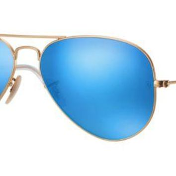 DCCKFC9 Ray Ban Aviator Sunglasses Matte Gold with Flash Mirror Lenses RB3025
