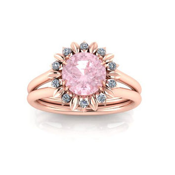 Sunflower Diamond and Morganite Engagement Ring, Rose Gold Ring, Wedding Ring Right Hand Ring Promisse Ring. RE00031