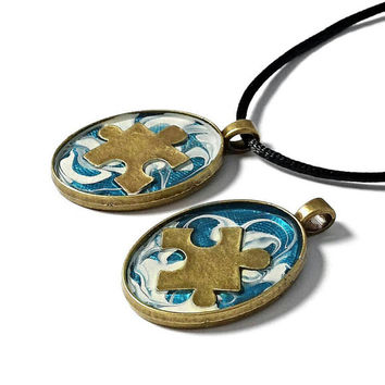 Autism necklace, autism awareness jewelry, puzzle necklace, mom necklace, autism pendant, abstract wearable art pendant, woman's necklace.