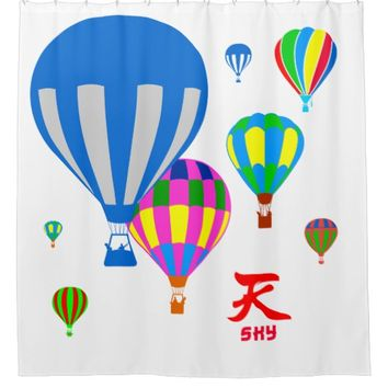Hot Air Balloons in the sky - Sky - on white Shower Curtain
